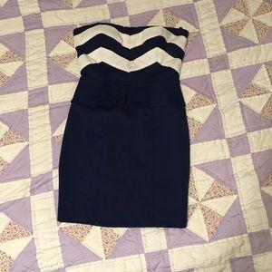 SEXY Blue Peplum bodycon dress